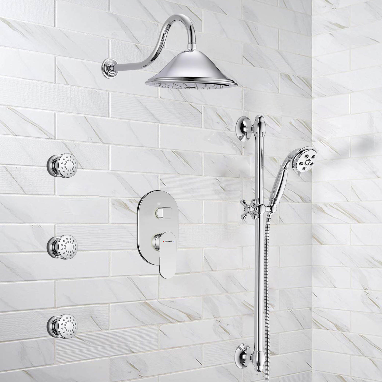 Bravat Wall Mounted Round Shower Set With Valve Mixer 3-Way Concealed And Three Body Jets In Chrome