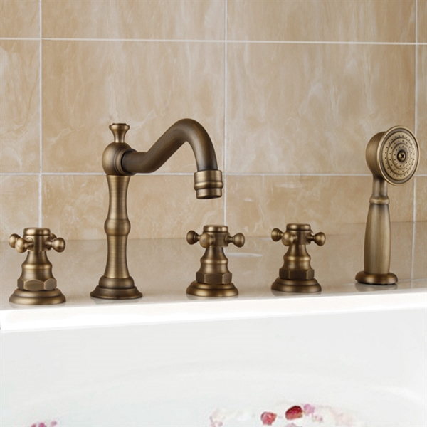 Brio Antique Brass Finish Bathtub Faucet with Hand Shower