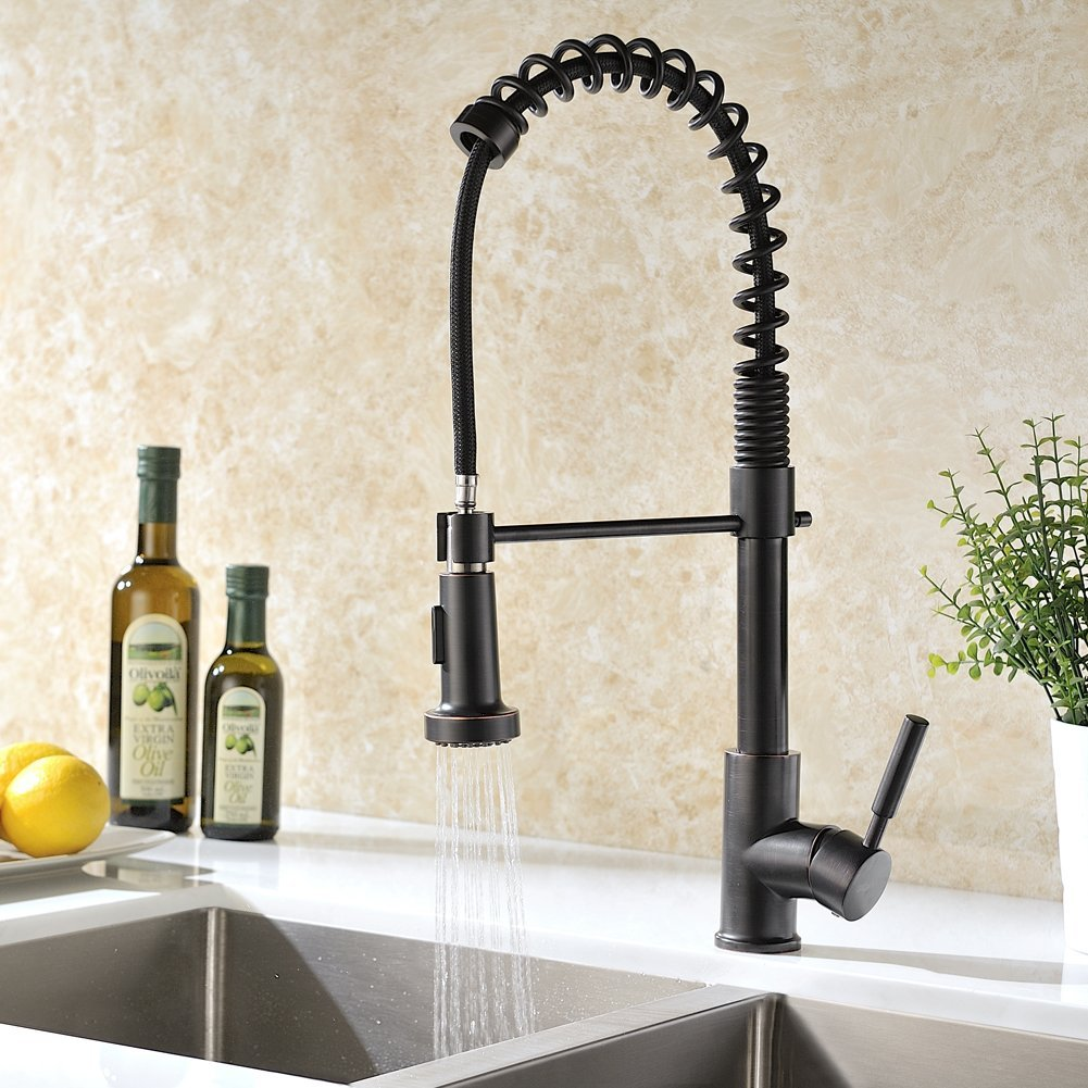 Caseros Oil Rubbed Bronze Kitchen Sink Faucet with Pull Down Sprayer