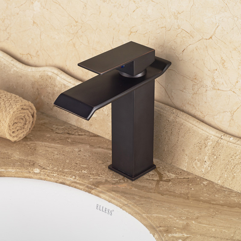 Chiasso Single Handle Waterfall Black Deck Mounted Bathroom Faucet