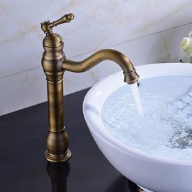 Fontana Single Hole Tall Antique Brass Bathroom Sink Faucet