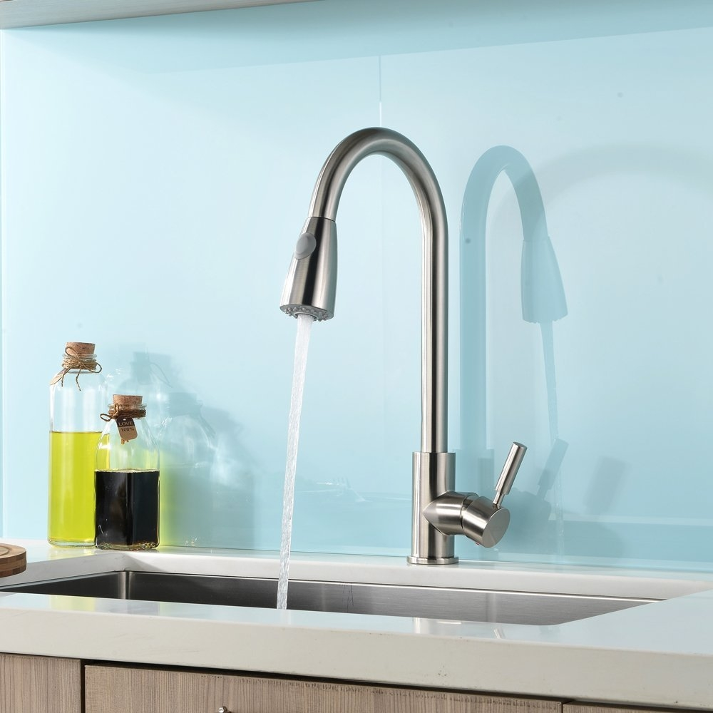 Delicieux Concordia Brushed Nickel Single Handle Kitchen Sink Faucet With Pull Down  Sprayer