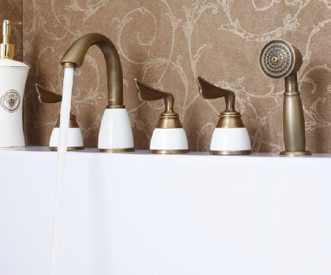 Creative 5PCS Deck Mount BathTub Faucet With Handshower