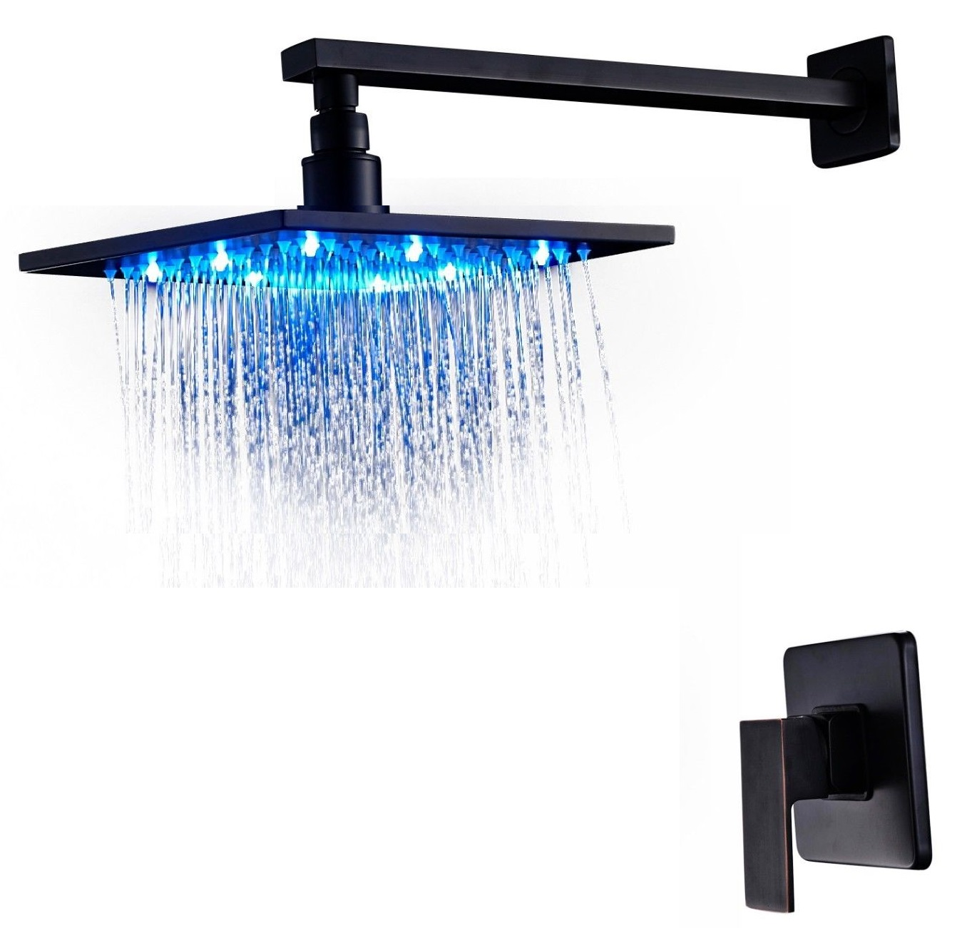 Rivera Dark Oil Rubbed Bronze Led Rain Shower Set Features