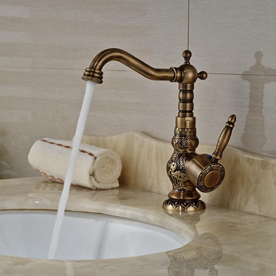 shop deck mount antique brass bathroom faucet ceramic
