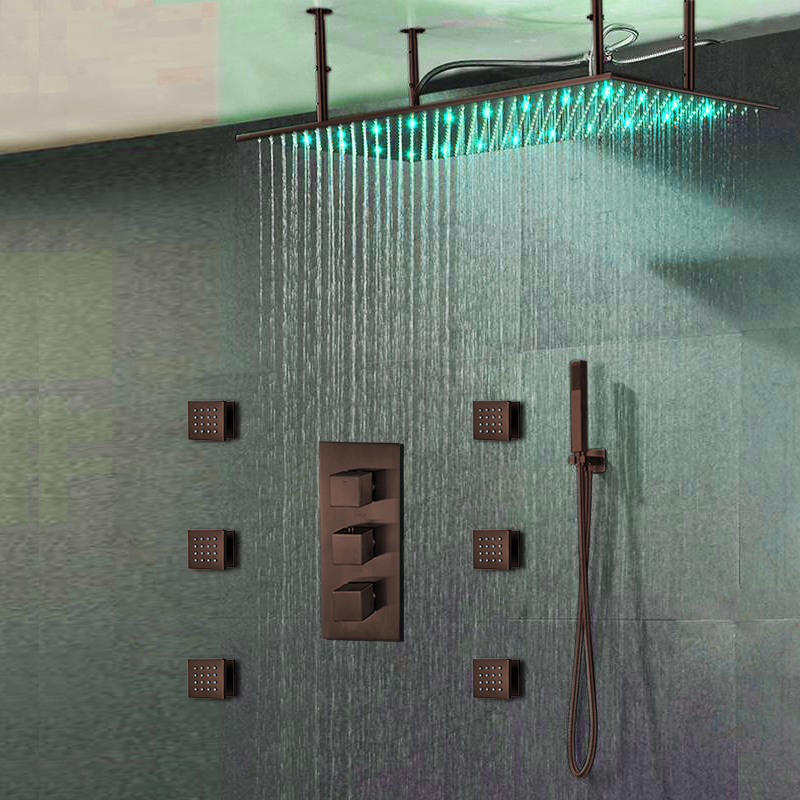 """Fontana Diadema 20"""" * 40"""" Large Oil Rubbed Bronze Solid Brass LED Rain Shower Head with Body Jets & Handheld Shower"""