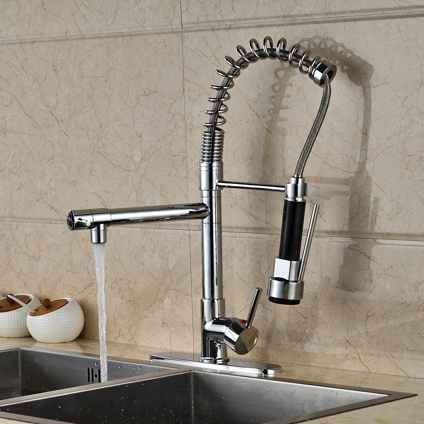 Doubs Deck Mounted Kitchen Sink Faucet With Pull Down Spray