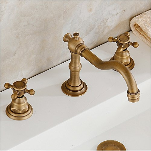 Eulma Deck Mounted Double Handled Bathroom Sink Faucet