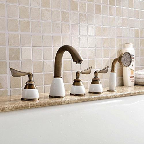 Luna-eLITE Triple Handle Antique Brass Bathtub Faucet With Hand Shower