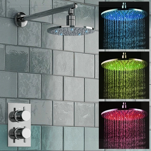 Fontana Milan Round Thermostatic Mixer Shower Set with Optional LED Lighting