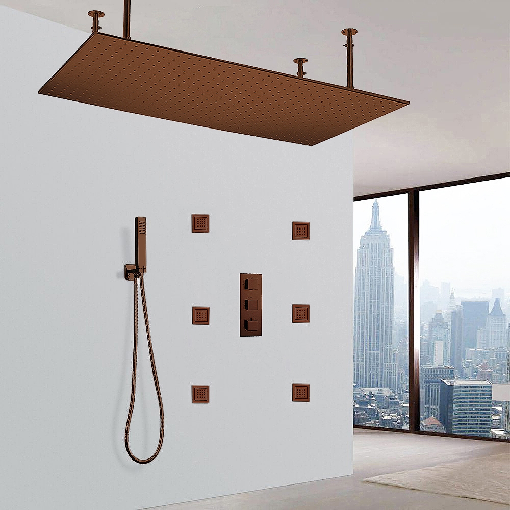 """Fontana 20""""x 40"""" Martinique Large Oil Rubbed Bronze Solid Brass LED Rain Showerhead System"""