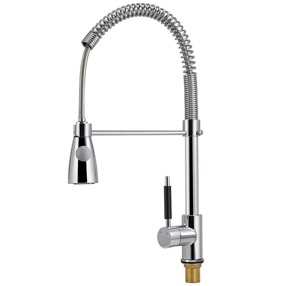 VALENCIA SINGLE HANDLE CHROME FINISH KITCHEN SINK FAUCET WITH PULL DOWN SPRAY