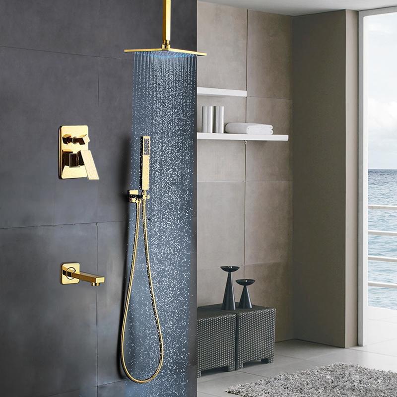 """10/""""Brushed Nickel Shower Faucet Set W//Tub and LED Digital Display Valve"""