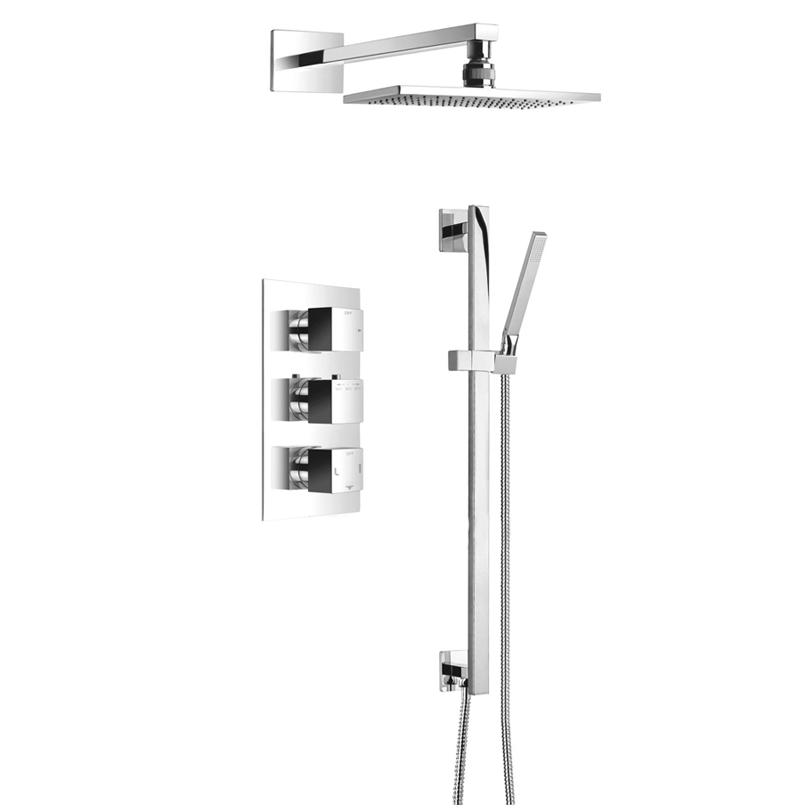 Fontana Sierra Chrome Finish Rainfall Bathroom Shower Set