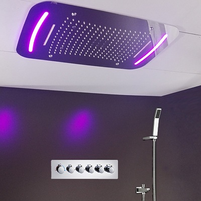 Fontana Rio Ceiling Mount 4 Functions Thermostatic LED Multifunction Shower Set