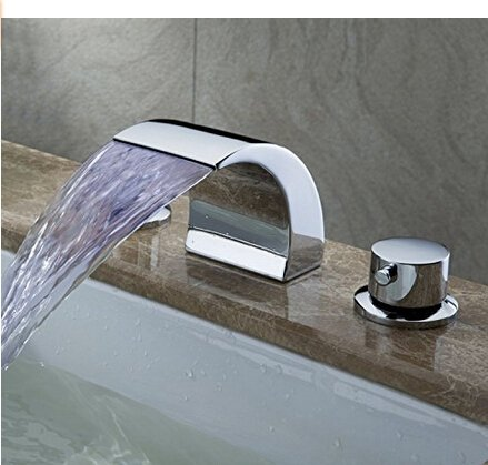 Deck Mounted LED Water Fall Bathroom Sink Faucet