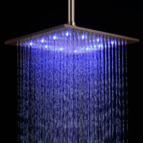 "Fontana 12"" Oil Rubbed Bronze Square LED Rainfall Showerhead"