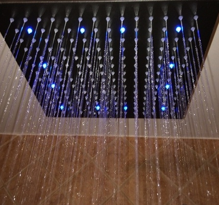 """Fontana 16"""" Oil Rubbed Bronze Square Color Changing LED Rain Shower Head (Solid Brass)"""