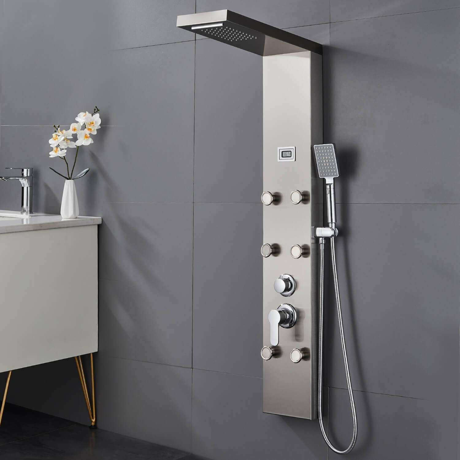 Shower Panel Column Tower LED Temperature Screen Stainless Steel 304 Shower System Water Tower Hydromassage and Waterfall Shower with 5 Functions,Massage Nozzles,Handheld Shower Jets for Bathroom
