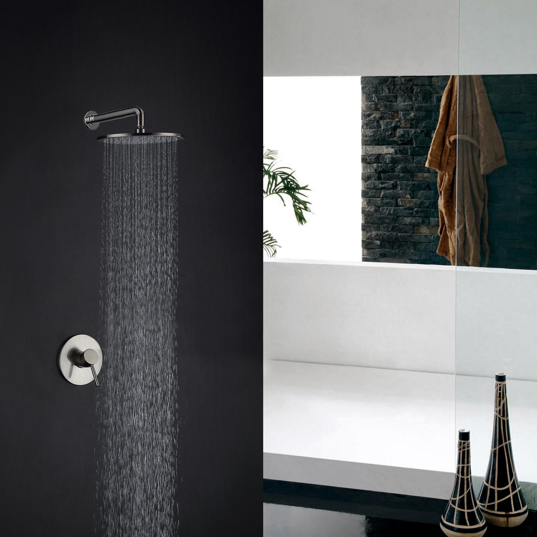Fontana Artemisa Wall Mount Brushed Nickel Finish Shower Set