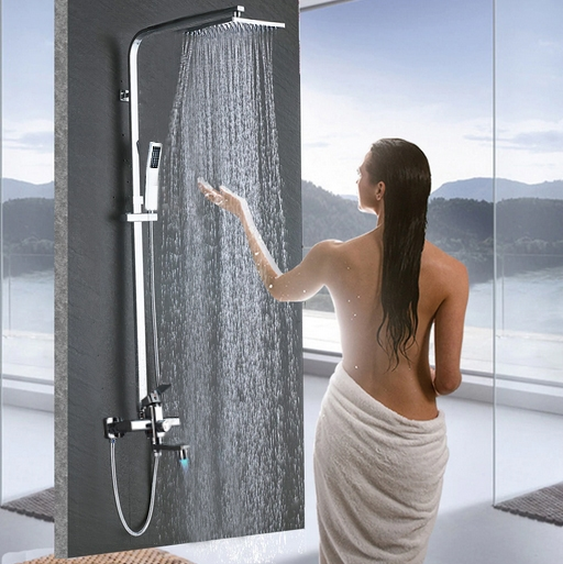 Fontana Brass Finish LED Shower Head with Handheld Shower and Shower Faucet