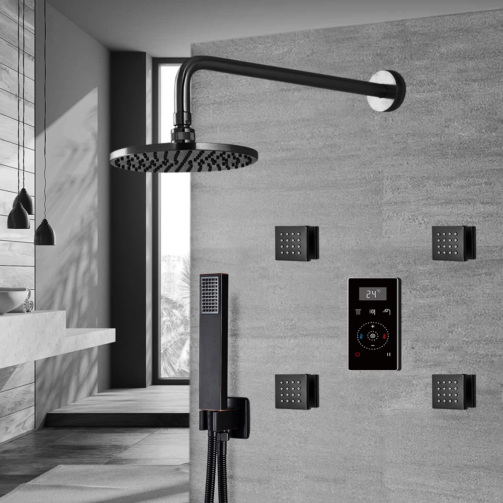 Fontana Dark Oil Rubbed Bronze Round Automatic Thermostatic Shower With Black Digital Touch Screen Shower Mixer Display 3 Function Rainfall Shower Set With Handheld Shower