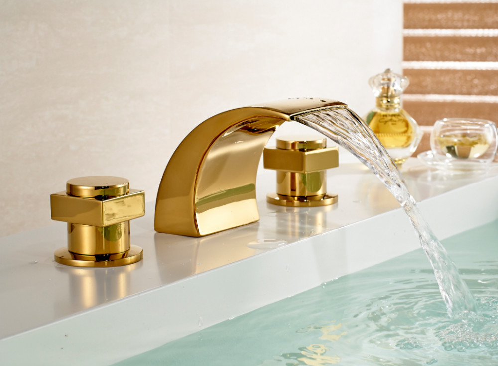 Vienna Double Handle Gold Plated Bathtub Faucet