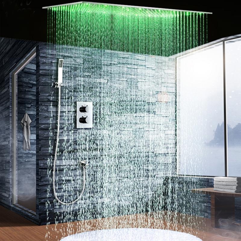 Fontana Genoa Sandino Thermostatic Ceiling Mount Rain Fall LED Shower Set