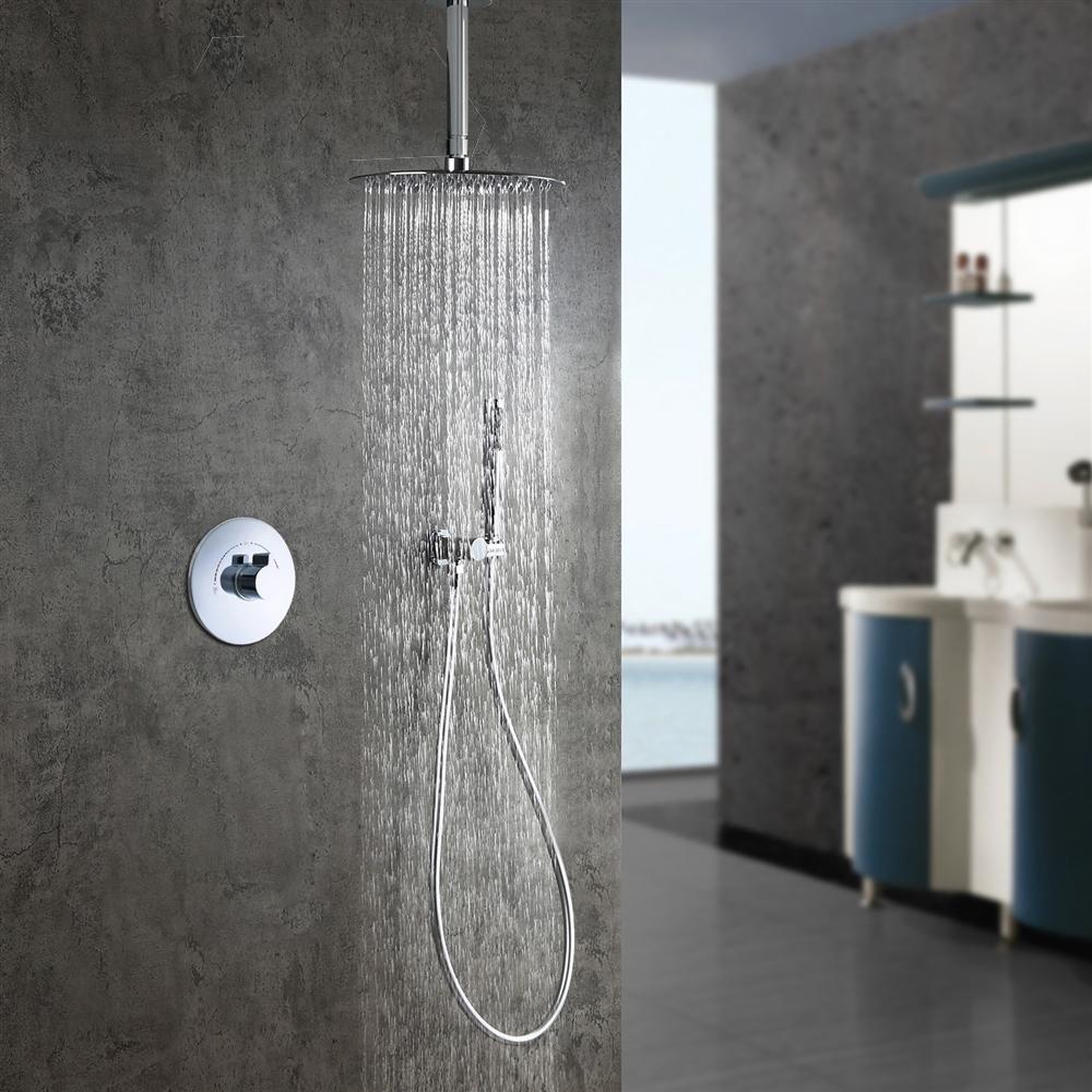 Fontana Lima Chrome Round Shower Set with 2-Way Digital Mixer