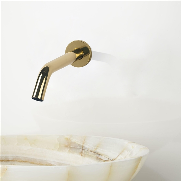 Fontana Milan Solid Brass Shiny Gold Finish Wall Mount Dual Sensor Faucet And Automatic Soap Dispenser