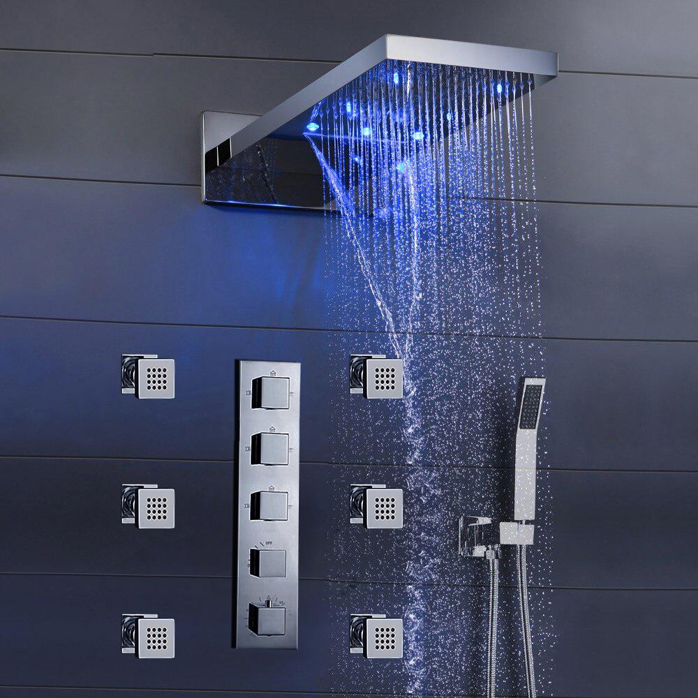 Shower Sale Fontana Mugla 22 Led Thermostatic Waterfall Rain Shower Head With Massage Body Sprays And Hand Shower Fontanashowers