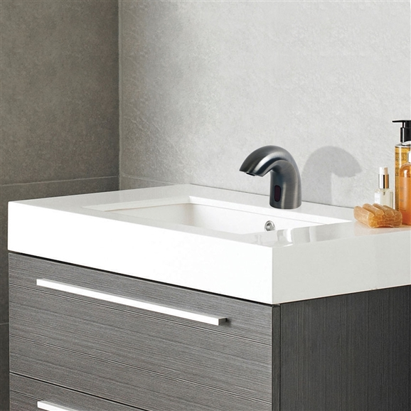 Fontana Napoli Dark Oil Rubbed Bronze Finish Deck Mount Dual Commercial Sensor Faucet And & Automatic Soap Dispenser