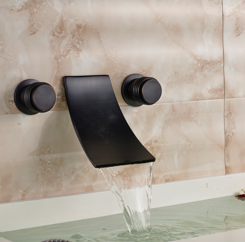 Fontana Retro Dark Oil Rubbed Bronze Dual Handle Wall Mount Sink Faucet