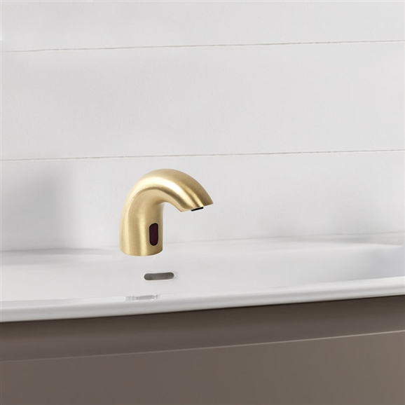 Fontana Rio Solid Brass Brushed Gold Finish Deck Mount Dual Commercial Sensor Faucet & Automatic Soap Dispenser