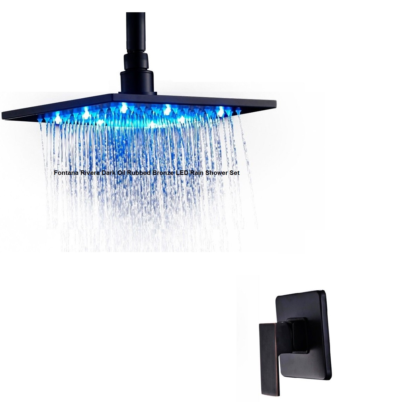 DETAILS FONTANA RIVERADARKOIL RUBBED BRONZEBATHROOMRAIN SHOWER - Dark bronze bathroom faucets