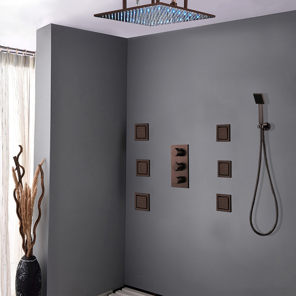 Fontana Sierra Oil Rubbed Bronze Multi Color Led Shower head with Adjustable Body Jets and Mixer