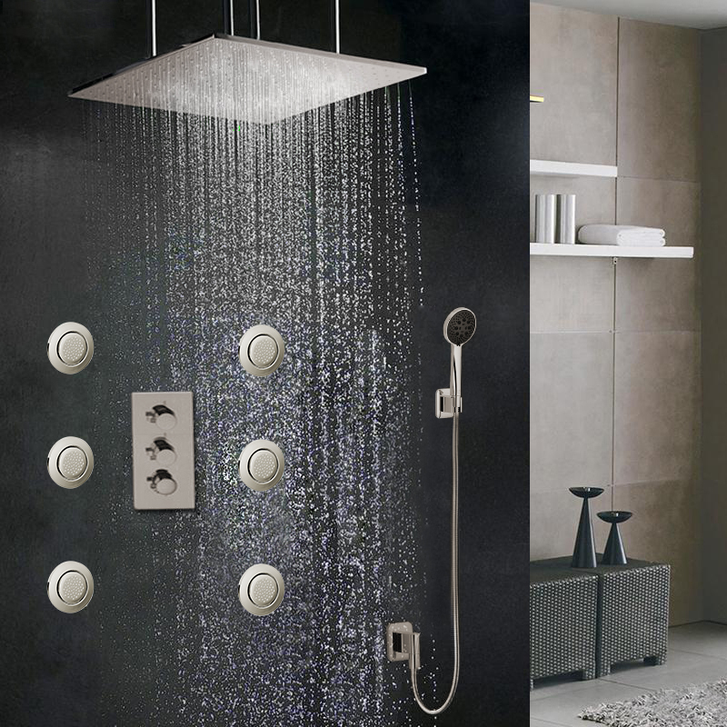 Fontana Sofia Large Ceiling Rain Shower Head Set With Body Sprays And Hand