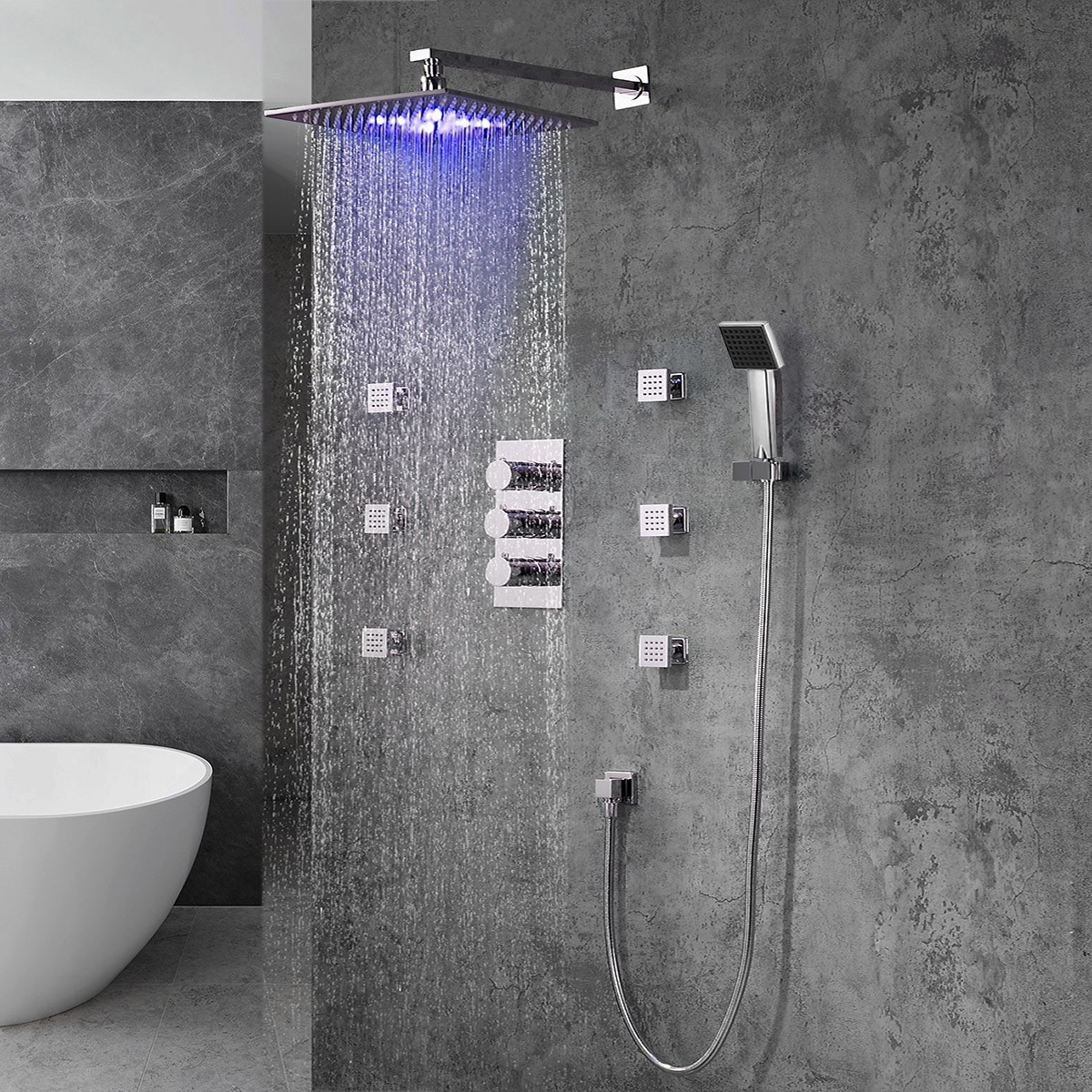 Fontana Trialo Color Changing LED Shower Head with Adjustable Body Jets