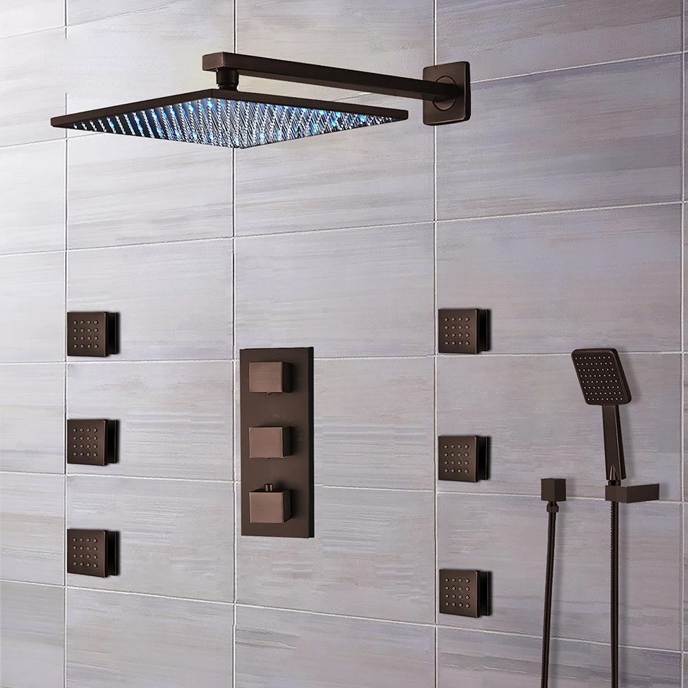 Fontana Trialo Light Oil Rubbed Bronze Color Changing LED Shower Head with Adjustable Body Jets