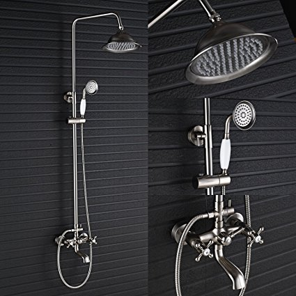 Forli Brushed Nickel Shower Spout Faucet with Hand Sprayer Set
