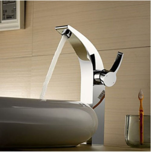 Full Brass Body Chrome Finish Tall Bathroom Sink Faucet with Single Handle