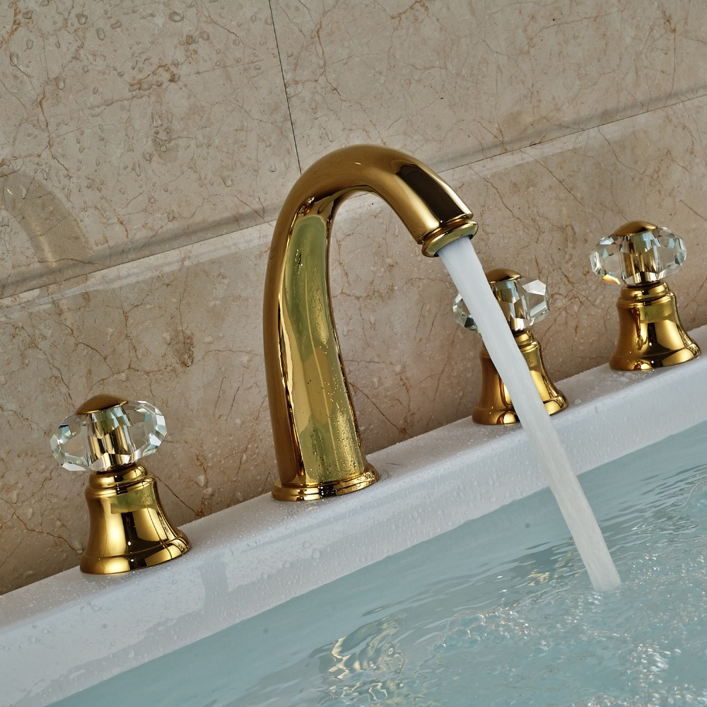 Rubin Gold Widespread 5PCS Bathroom Tub Faucet Three Handles with ...