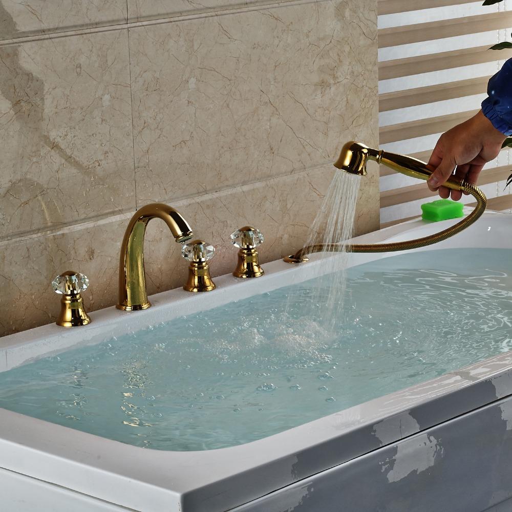 Rubin Gold Widespread 5PCS Bathroom Tub Faucet Three Handles with ...