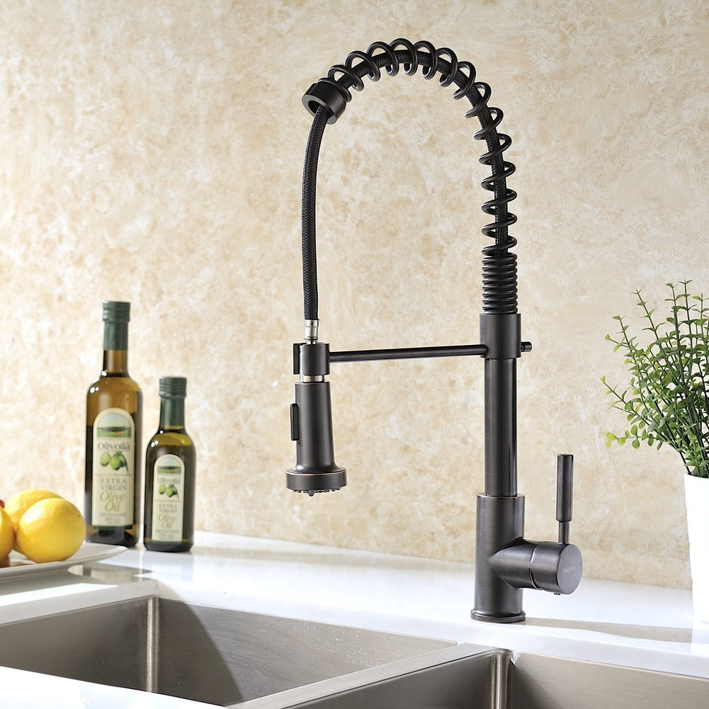 Jiguani Is Part Of Our Kitchen Faucet Range With Pull Down Sprayer And Rotatable Spout What Sets It Apart The Dark Orb Finish Which Ideal For Either
