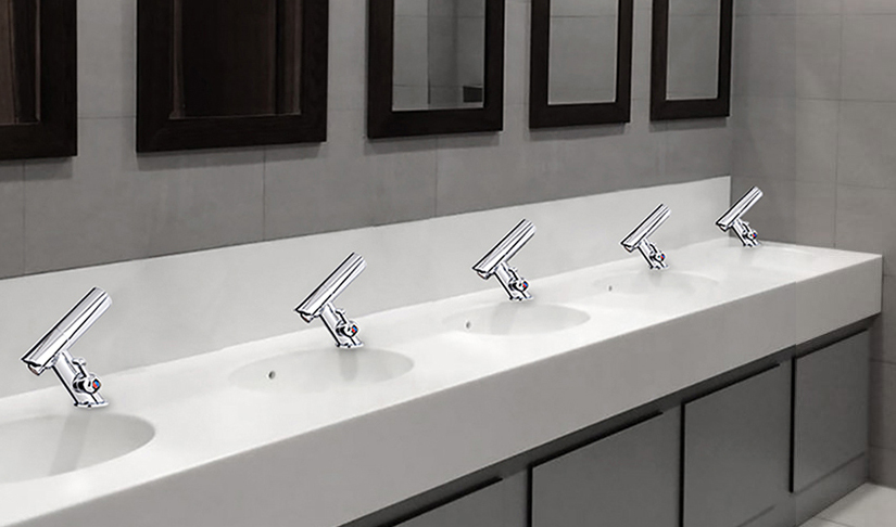 Juno Commercial Automatic Temperature Control All-in-one Thermostatic Chrome Finish Sensor Faucet