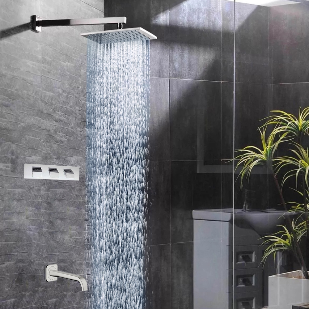 Fontana Sita Platinum LED Shower Head Set with Diverter, Mixer and LED Spout