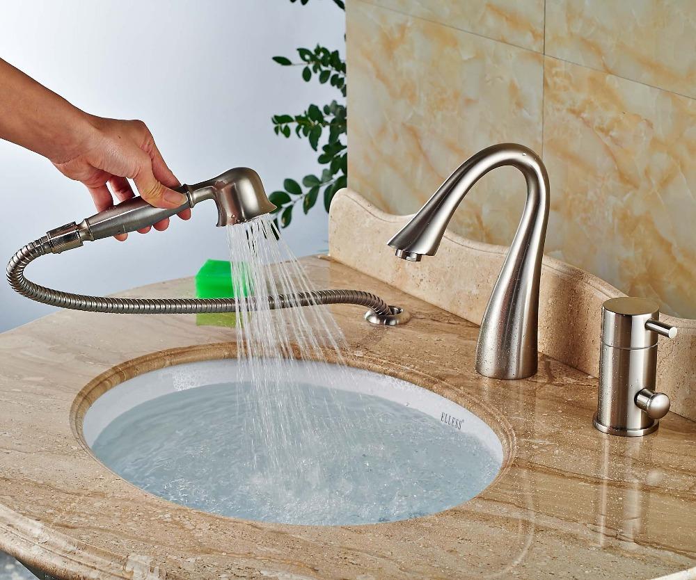 Laconian Brushed Nickel Bathroom Sink Faucet with Handheld Shower on small bathroom ideas for sinks, modern bathroom toilets, bathroom fixtures for sinks, modern bathroom showers,