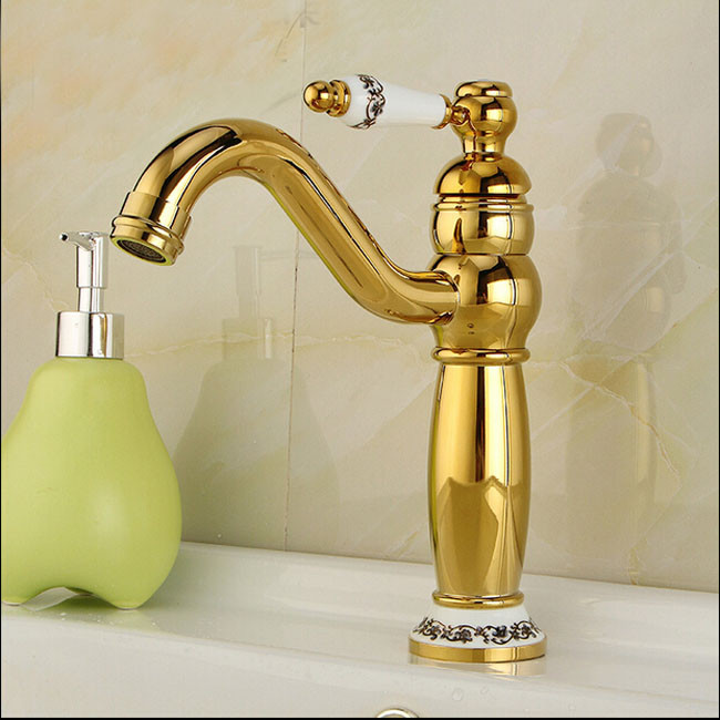 Lenox Gold & Ceramic Single Handle Deck Mounted Bathroom Sink Faucet