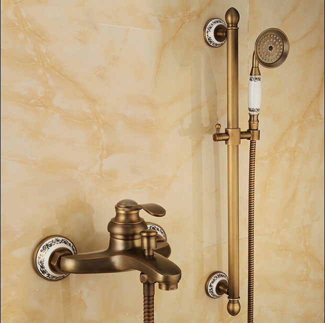 Leon Luxury Brass Antique Mixer Tap Single Handle Shower Faucet