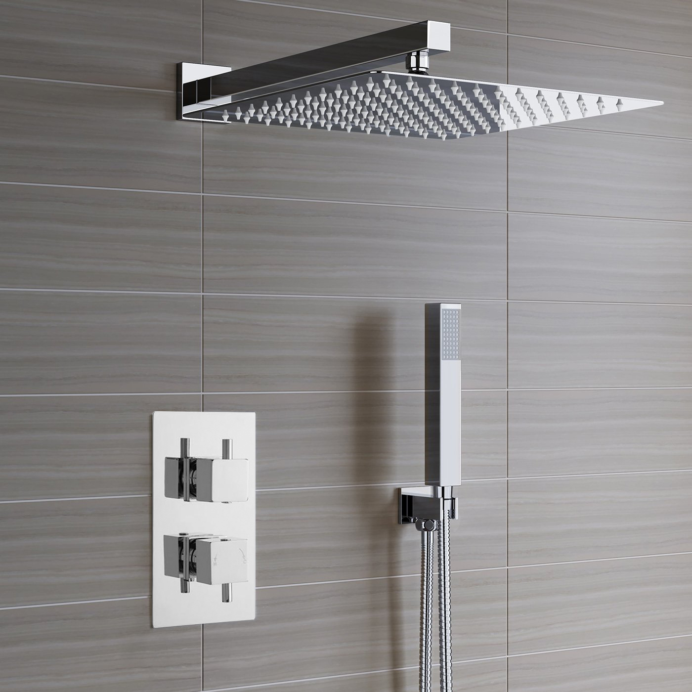 Lima Ultra Thin Rain Shower Head With Built-In Thermostatic Mixer And Hand Held Shower Set
